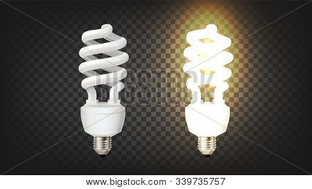 Compact Fluorescent Lamp Corkscrew Type Vector. Modern Economical Lamp High-efficacy Phosphors Withs