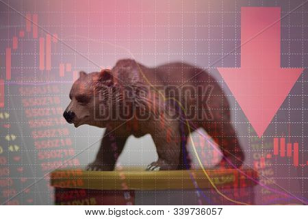 Bull And Bear Market Concept With Stock Chart Digital Numbers Crisis Red Price Drop Arrow Down Chart