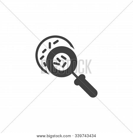 Magnifying Glass With Germs Vector Icon. Filled Flat Sign For Mobile Concept And Web Design. Virus R