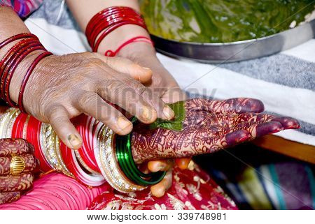 Indian Bride Hand Print To Cloth Ritual Ceremony