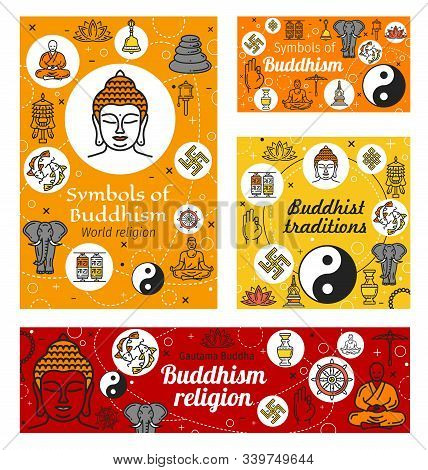 Buddhist Religious Worship, Buddhism Religious Symbols. Vector Meditation And Buddhism Dharma Teachi