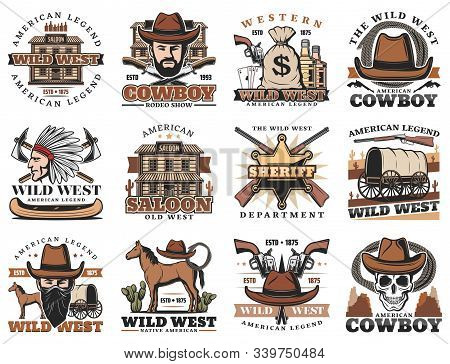 American Western Icons, Rodeo Show And Cowboy Saloon, Bandit Revolver And Indian Chief. Vector Wild