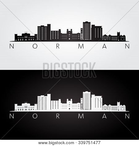 Norman, Oklahoma Usa Skyline And Landmarks Silhouette, Black And White Design, Vector Illustration.