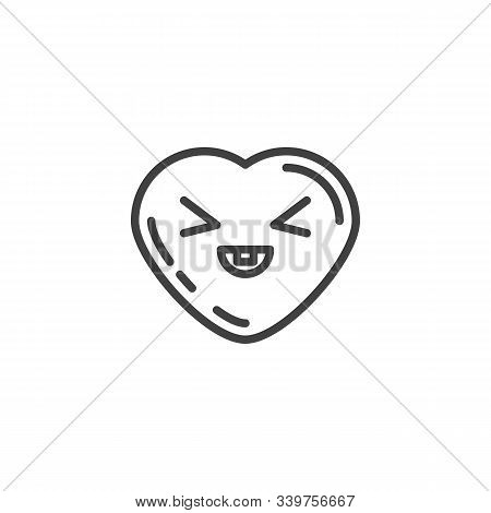 Grinning Face Emoji Line Icon. Linear Style Sign For Mobile Concept And Web Design. Squinting Heart