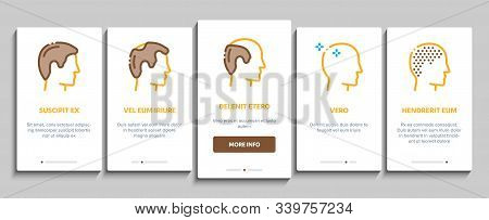 Hair Transplantation Onboarding Mobile App Page Screen. Balding And Baldness Man Head, Shampoo And M