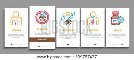 Malaria Illness Dengue Onboarding Mobile App Page Screen. Malaria Mosquito, Spray And Protect Cream