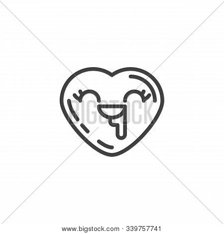 Drooling Heart Face Emoji Line Icon. Linear Style Sign For Mobile Concept And Web Design. Saliva Dro