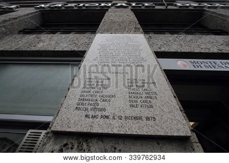 Milan, Italy - April 8, 2013: The Tombstones In Piazza Fonatana To Commemorate The Terrorist Attack