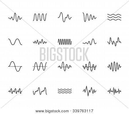 Sound Waves Flat Line Icons Set. Vibration, Soundwave, Audio Voice Signal, Abstract Waveform Frequen