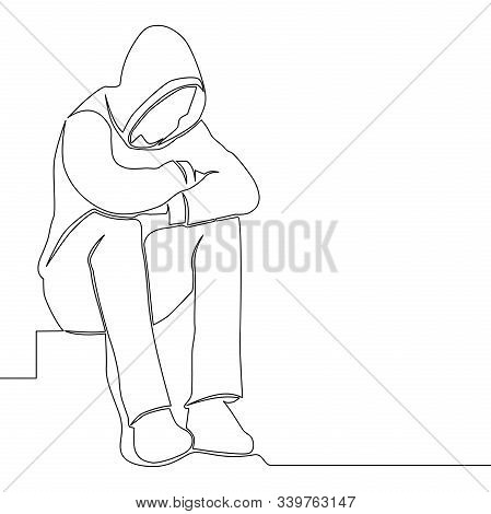 Continuous One Single Line Drawing Sad Man Sitting Alone Solitude Icon Vector Illustration Concept
