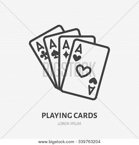 Poker Cards Line Icon, Vector Pictogram Of Blackjack Game. Four Aces Illustration, Casino Gambling S