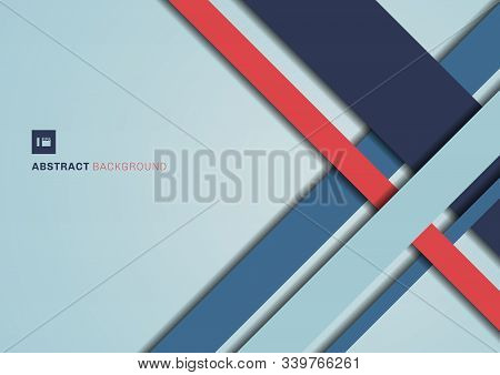 Abstract Blue And Red Color Geometric Shape Overlapping 3d Dimension Background. Template Modern Fla