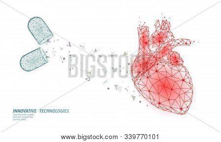 3d Medicine Heart Medicine Treatment. Human Health Diagnostics Heart Protect Concept. Low Poly Vecto