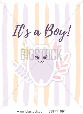 Vector Its A Boy Card With A Little Cat And Floral Elements. Funny Baby Bath Announcement Card. Its