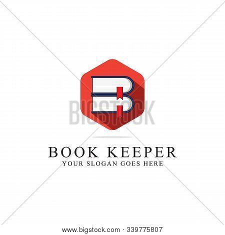 Book Keeper Logo Inspirations, Library Or Librarian Logo Vector. Creative Logo Designs