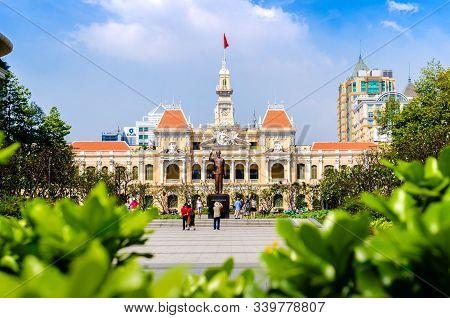 Ho Chi Minh City, Vietnam - 12. Dec. 2019:he Ho Chi Minh City Hall Or Saigon City Hall, Elegant Fren