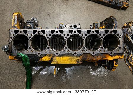 Top View At Replacement Six Cylinder Engine Used On A Floor For Installation On A Car Or Tractor Aft