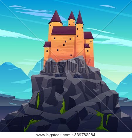 Medieval Castle, Ancient Citadel Or Impregnable Fortress With Stone Towers On Rocky Peak Cartoon . F