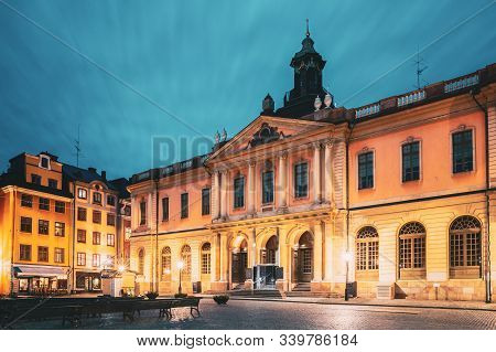 Stockholm, Sweden. Famous Old Swedish Academy And Nobel Museum In Old Square Stortorget In Gamla Sta