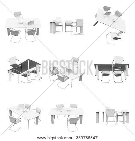 Office Table Isolated On The White Background 3d Rendering