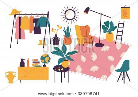 Vector Illustration Interior With Stylish Comfy Furniture And Home Decorations. Icons Of Living Room