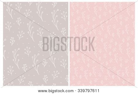 Ute Hand Drawn Floral Seamless Vector Patterns. White Twigs Isolated On A Light Pink And Light Brown