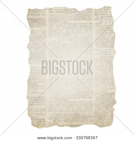 Piece Of Torn Newspaper Isolated On White Background. Old Grunge Newspapers Textured Paper Collectio
