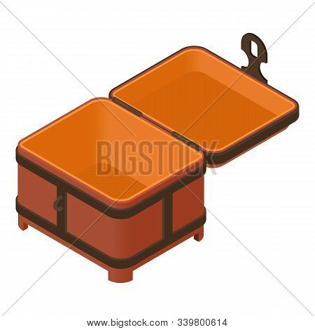 Empty Dower Chest Icon. Isometric Of Empty Dower Chest Vector Icon For Web Design Isolated On White