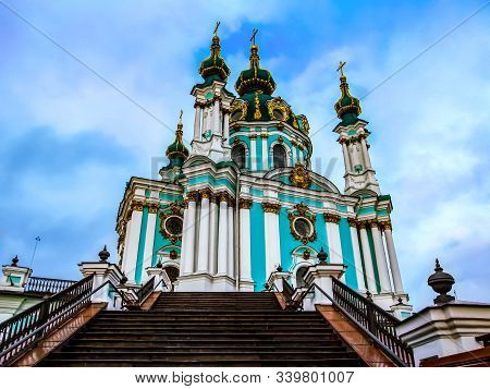 St. Andrew's Church At The Top Of The Stairs (kiev, Ukraine), Bottom View. Amazing Baroque-style Cat