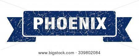 Phoenix Ribbon. Blue Phoenix Grunge Band Sign