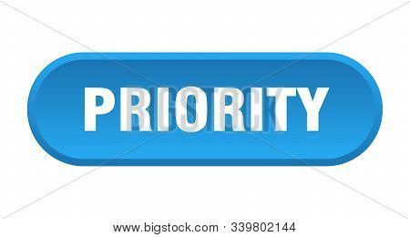 Priority Button. Priority Rounded Blue Sign. Priority