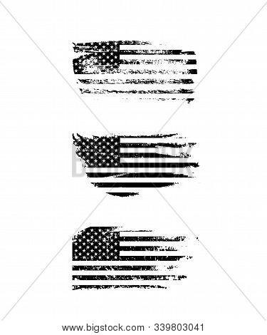 Black Vintage Usa Flags Illustration. Vector American Flag On Grunge Texture Set