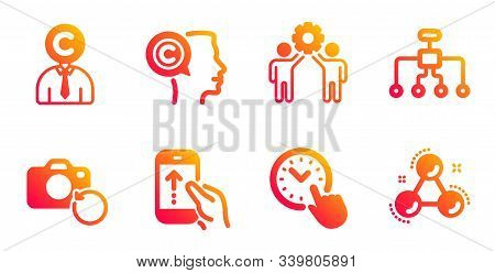 Restructuring, Employees Teamwork And Recovery Photo Line Icons Set. Swipe Up, Writer And Time Manag