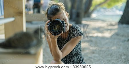 Young Female Photographer Taking Photo Of A Dove Bird Sitting On Porch In Summer Resort.