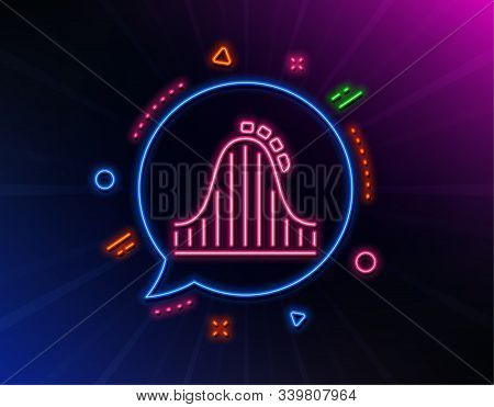 Roller Coaster Line Icon. Neon Laser Lights. Amusement Park Sign. Carousels Symbol. Glow Laser Speec