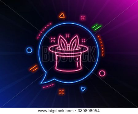 Hat-trick Line Icon. Neon Laser Lights. Magic Tricks With Hat And Rabbit Sign. Illusionist Show Symb