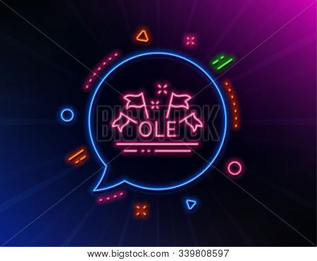 Ole Chant Line Icon. Neon Laser Lights. Championship With Flags Sign. Sports Event Symbol. Glow Lase