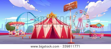 Amusement Carnival Park With Circus Tent, Ferris Wheel, Roller Coaster, Merry-go-round Carousel And
