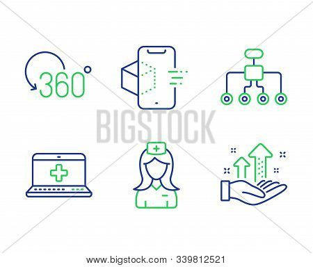 Restructuring, Hospital Nurse And Full Rotation Line Icons Set. Medical Help, Augmented Reality And