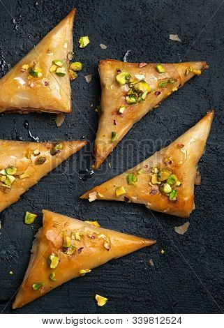 Homemade Greek Feta Cheese Phyllo Triangles Pies With Honey And Pistachios. Cooking Sweets Turkish,