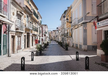 Street Atmosphere And Typical Architecture In The Historic City Center Of Setubal, Portugal
