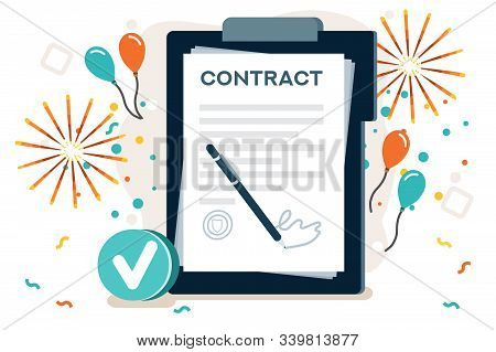 Company Contract Greeting, Successful Agreement Idea. Friendship To Success, Friend Congratulation.