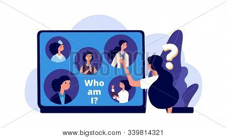 Career Choice. Career Opportunities Illustration. Young Woman Chooses Profession. Vector Female Stud