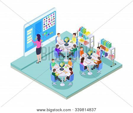 School Room. Elementary School Class Location. Isometric Classroom Interior. Young Students And Teac