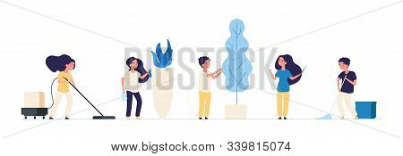 Kids Cleaning. Children Cleaners Housework Vacuuming Sweep Household Equipment Vector Characters. Ho