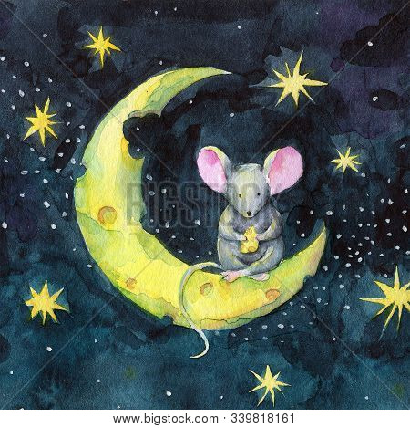 Watercolor Christmas Funny Cartoon Mouse On The Cheese Moon. Winter Poster With Cute New Year Mouse