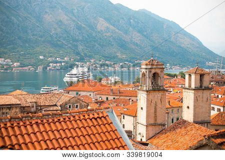 Kotor, Montenegro - September 06, 2019: Amazing View Of Kotor Bay And Kotor Old Town From The Upstai
