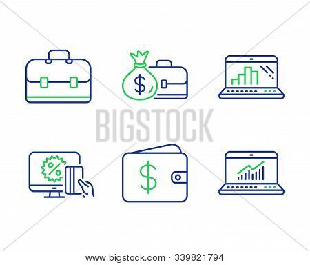 Online Shopping, Dollar Wallet And Salary Line Icons Set. Graph Laptop, Portfolio And Online Statist