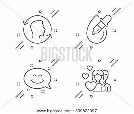 Eye Drops, Smile Chat And Face Id Line Icons Set. Couple Sign. Pipette, Happy Emoticon, Identificati
