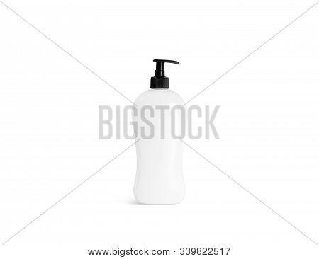 Blank White Shampoo Bottle With Black Pump Mockup, Front View. Empty Hair Gel Or Conditioner Tube Mo